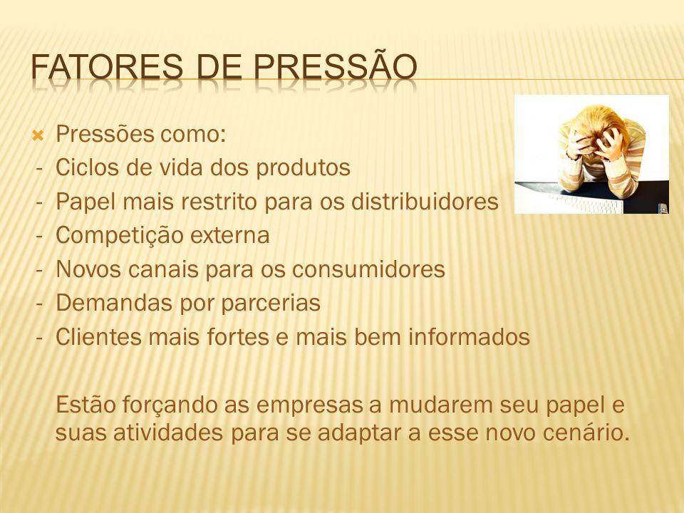 Pressões como: - Ciclos de vida dos produtos - Papel mais restrito para os distribuidores - Competição externa - Novos canais para os consumidores - D