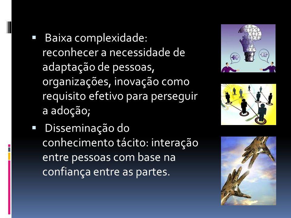 Estágios de inovação Estabelecer a agenda; Realizar a combinação entre oportunidades tecnológicas encontradas no mercado e os problemas identificados na organização; Ajustar a forma de disseminação da inovação, adequando-a segunda as percepções pessoais; Informar; Criar rotina.