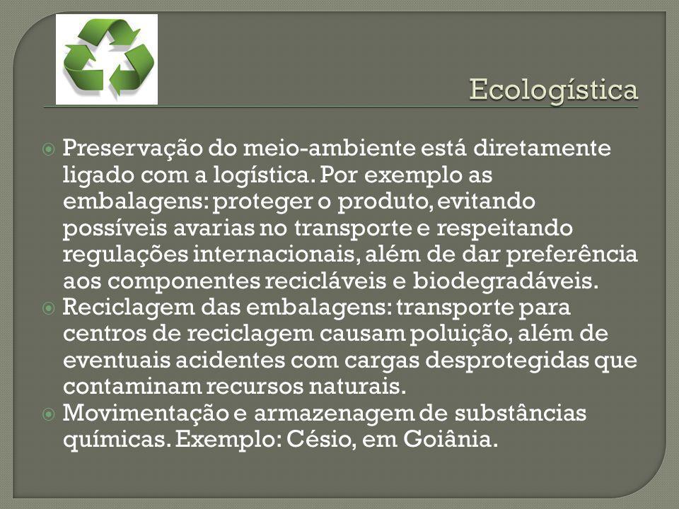 Preservação do meio-ambiente está diretamente ligado com a logística. Por exemplo as embalagens: proteger o produto, evitando possíveis avarias no tra