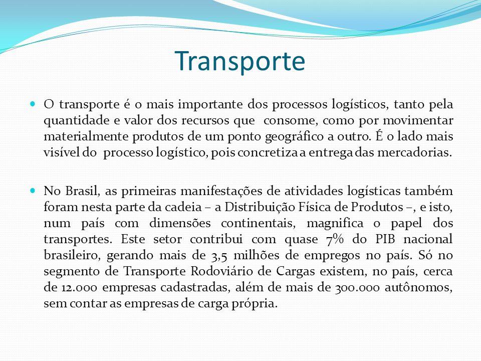 Transporte O transporte é o mais importante dos processos logísticos, tanto pela quantidade e valor dos recursos que consome, como por movimentar mate