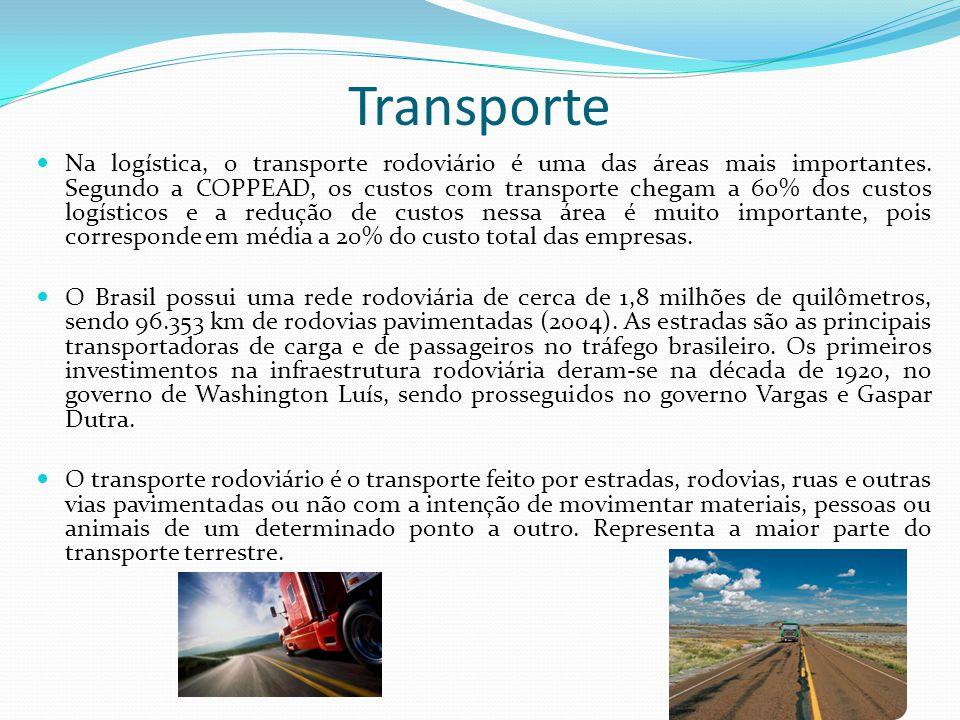 Transporte Na logística, o transporte rodoviário é uma das áreas mais importantes. Segundo a COPPEAD, os custos com transporte chegam a 60% dos custos