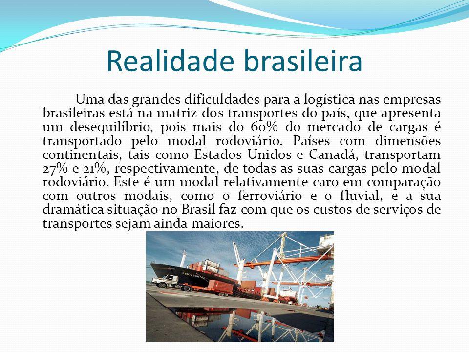 Realidade brasileira Uma das grandes dificuldades para a logística nas empresas brasileiras está na matriz dos transportes do país, que apresenta um d