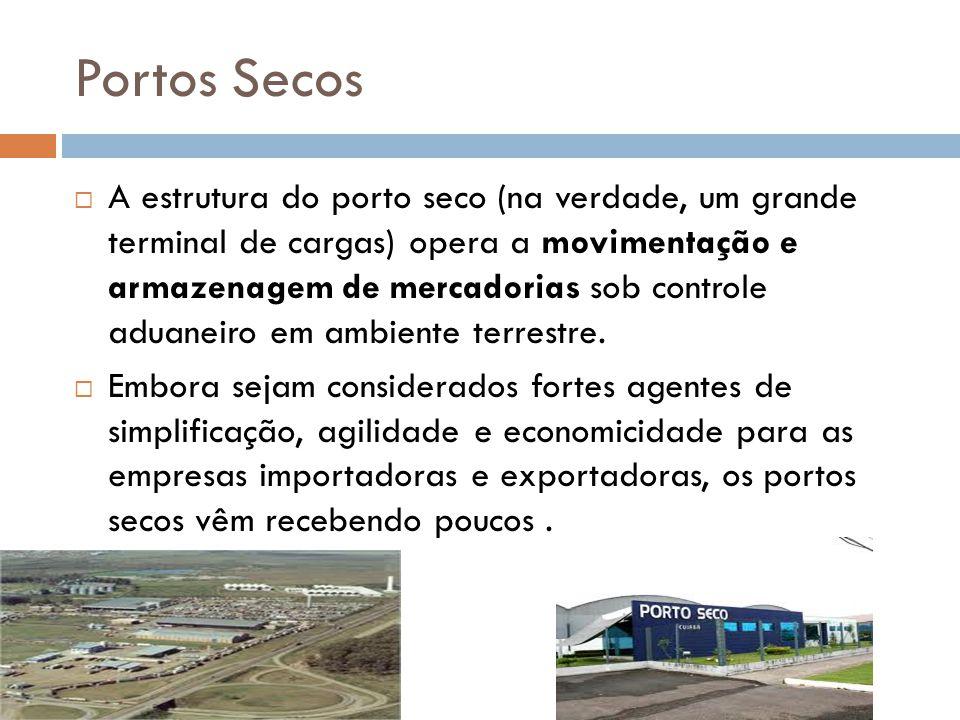 Portos Secos A estrutura do porto seco (na verdade, um grande terminal de cargas) opera a movimentação e armazenagem de mercadorias sob controle aduan