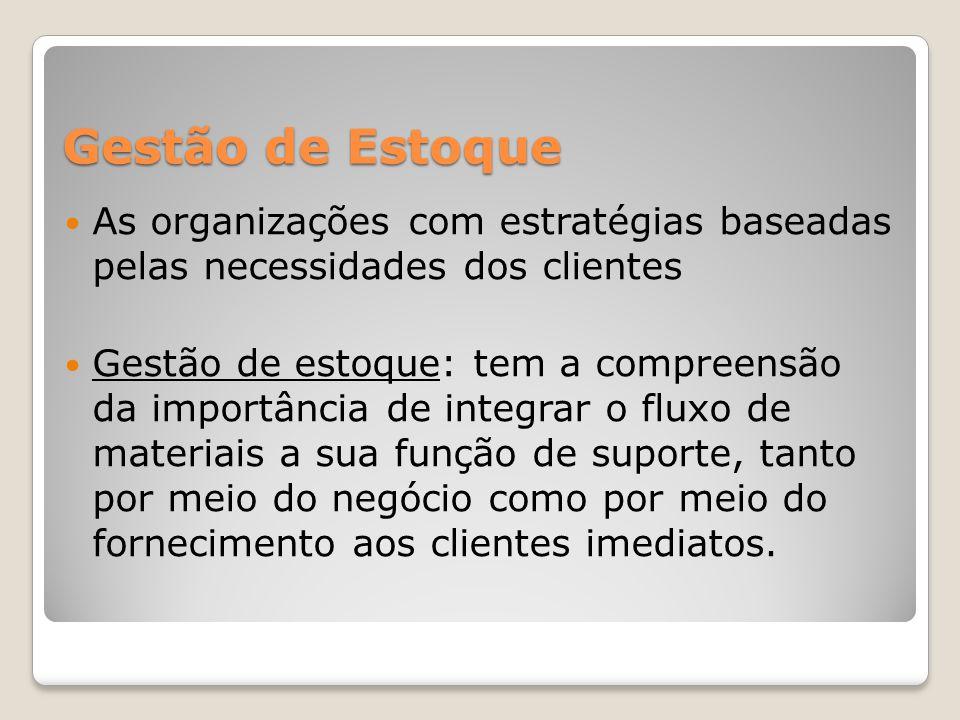 Gestão de Estoque As organizações com estratégias baseadas pelas necessidades dos clientes Gestão de estoque: tem a compreensão da importância de inte