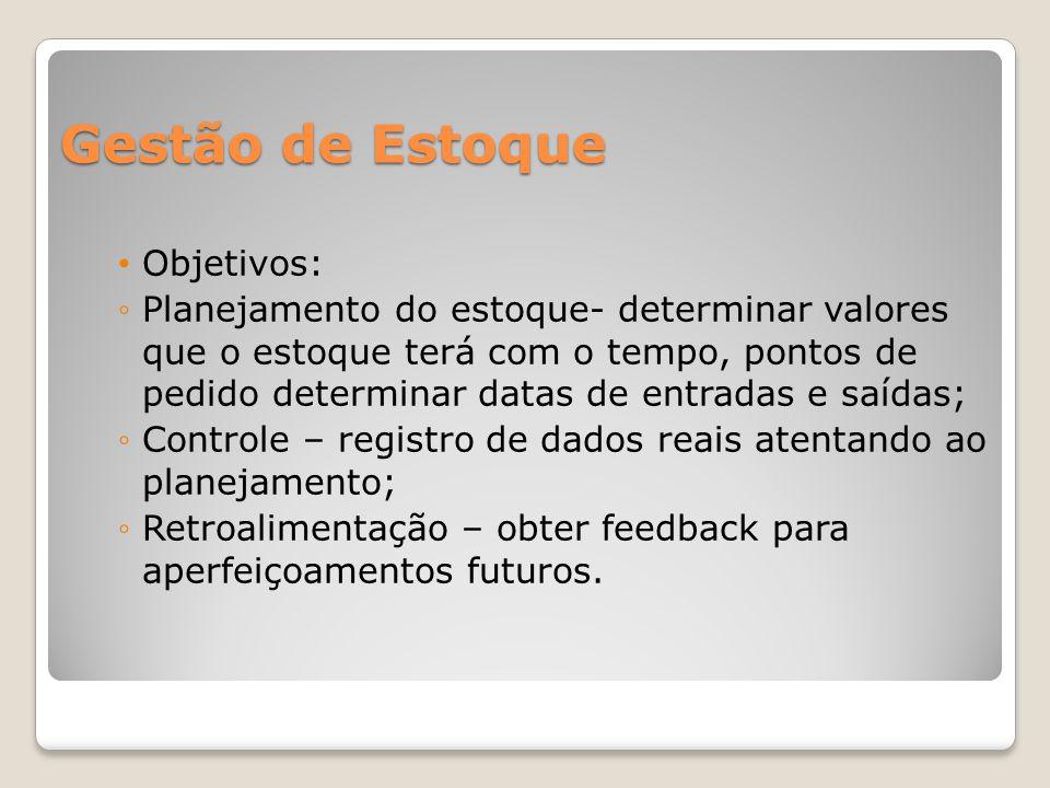 Gestão de Estoque Objetivos: Planejamento do estoque- determinar valores que o estoque terá com o tempo, pontos de pedido determinar datas de entradas