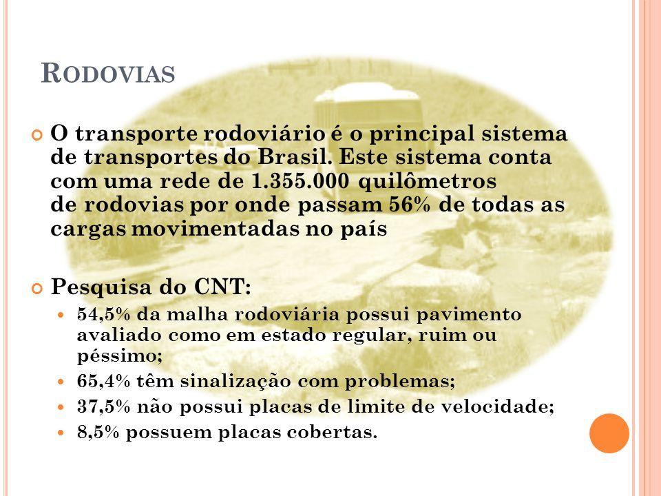 R ODOVIAS O transporte rodoviário é o principal sistema de transportes do Brasil.