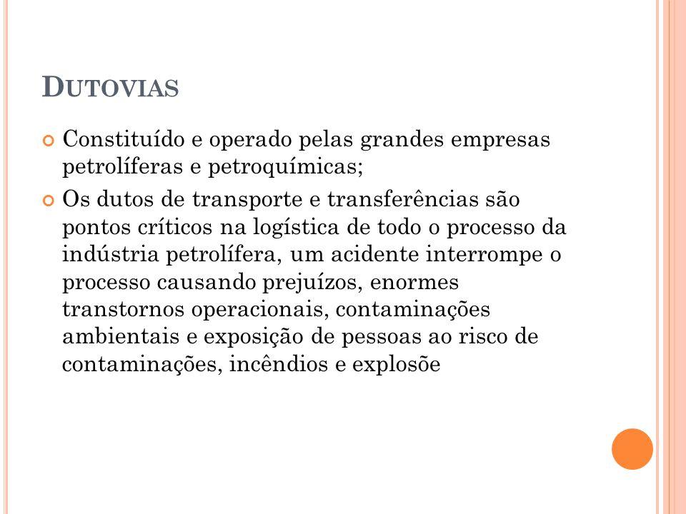 D UTOVIAS Constituído e operado pelas grandes empresas petrolíferas e petroquímicas; Os dutos de transporte e transferências são pontos críticos na logística de todo o processo da indústria petrolífera, um acidente interrompe o processo causando prejuízos, enormes transtornos operacionais, contaminações ambientais e exposição de pessoas ao risco de contaminações, incêndios e explosõe