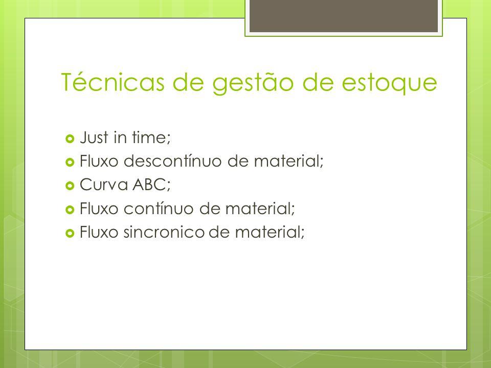 Técnicas de gestão de estoque Just in time; Fluxo descontínuo de material; Curva ABC; Fluxo contínuo de material; Fluxo sincronico de material;