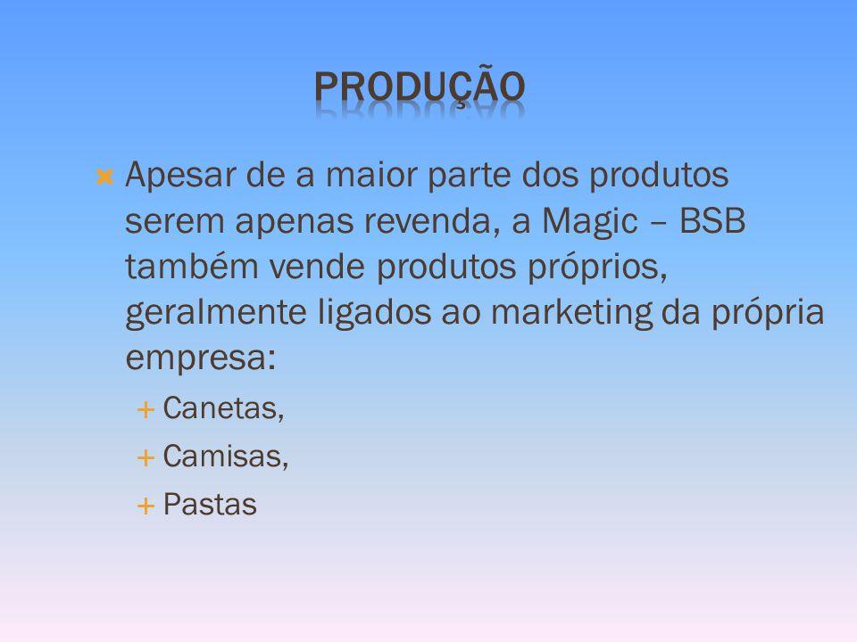 Apesar de a maior parte dos produtos serem apenas revenda, a Magic – BSB também vende produtos próprios, geralmente ligados ao marketing da própria empresa: Canetas, Camisas, Pastas