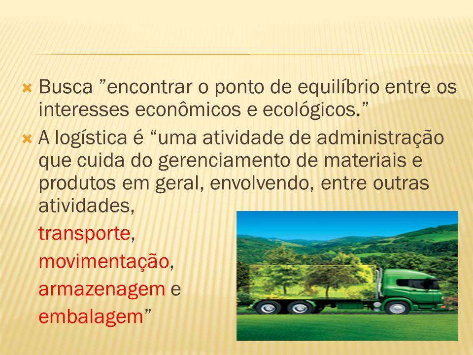 Busca encontrar o ponto de equilíbrio entre os interesses econômicos e ecológicos. A logística é uma atividade de administração que cuida do gerenciam