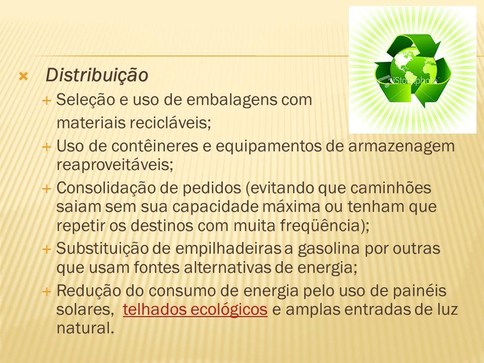 Distribuição Seleção e uso de embalagens com materiais recicláveis; Uso de contêineres e equipamentos de armazenagem reaproveitáveis; Consolidação de