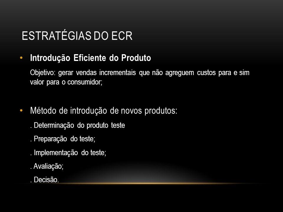 ESTRATÉGIAS DO ECR Introdução Eficiente do Produto Objetivo: gerar vendas incrementais que não agreguem custos para e sim valor para o consumidor; Mét