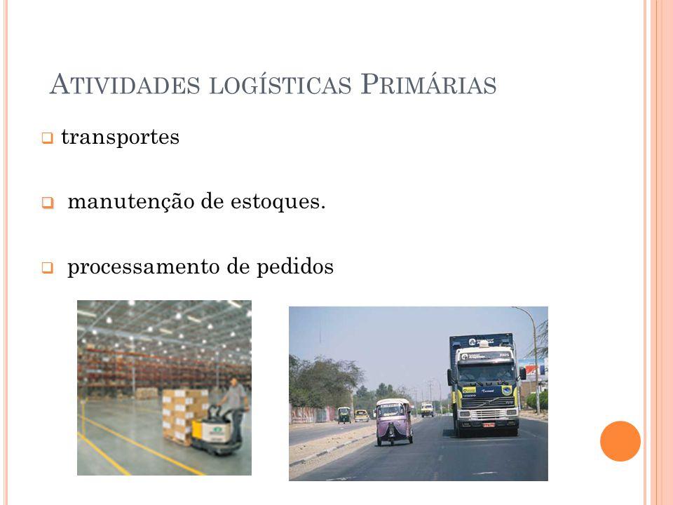 A TIVIDADES LOGÍSTICAS P RIMÁRIAS transportes manutenção de estoques. processamento de pedidos