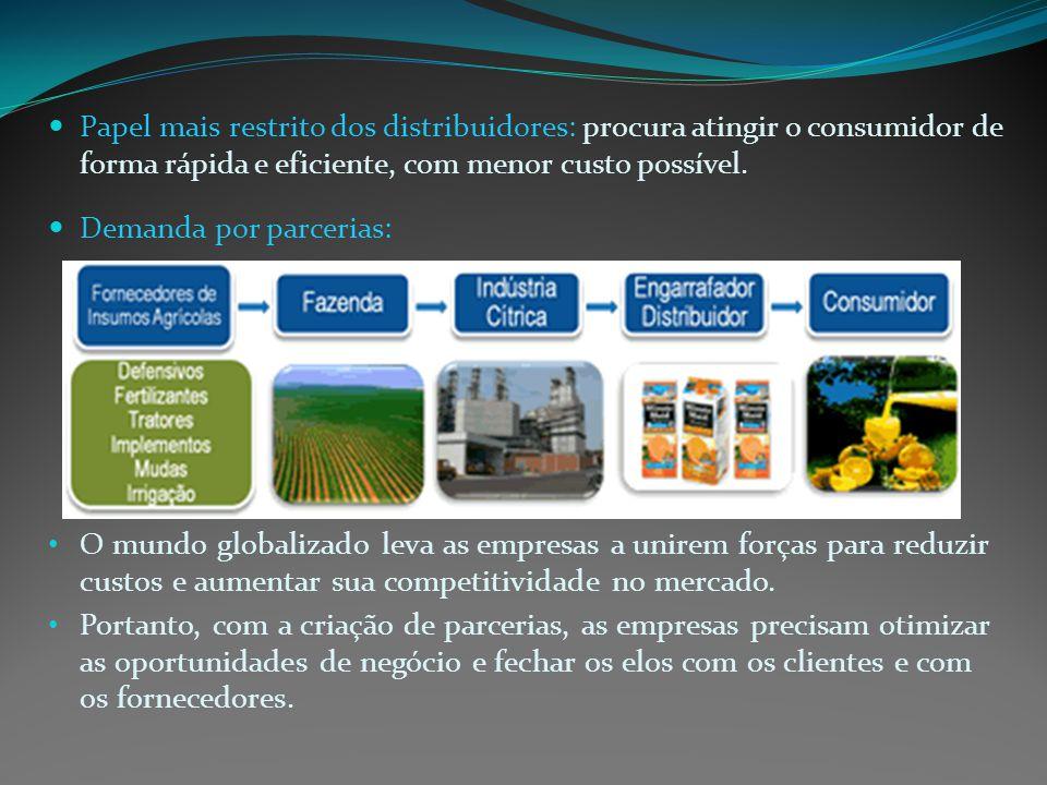 Papel mais restrito dos distribuidores: procura atingir o consumidor de forma rápida e eficiente, com menor custo possível.