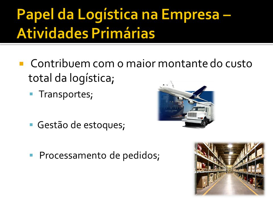 Contribuem com o maior montante do custo total da logística; Transportes; Gestão de estoques; Processamento de pedidos;