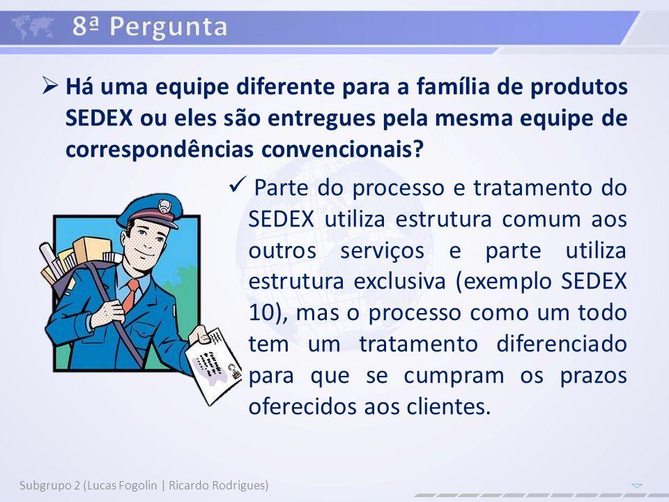 Há uma equipe diferente para a família de produtos SEDEX ou eles são entregues pela mesma equipe de correspondências convencionais? Subgrupo 2 (Lucas