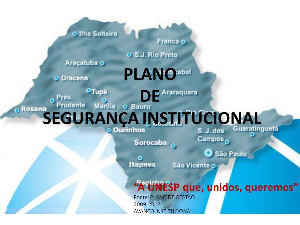 PLANO DE SEGURANÇA INSTITUCIONAL A UNESP que, unidos, queremos Fonte: PLANO DE GESTÃO 2009-2012 AVANÇO INSTITUCIONAL