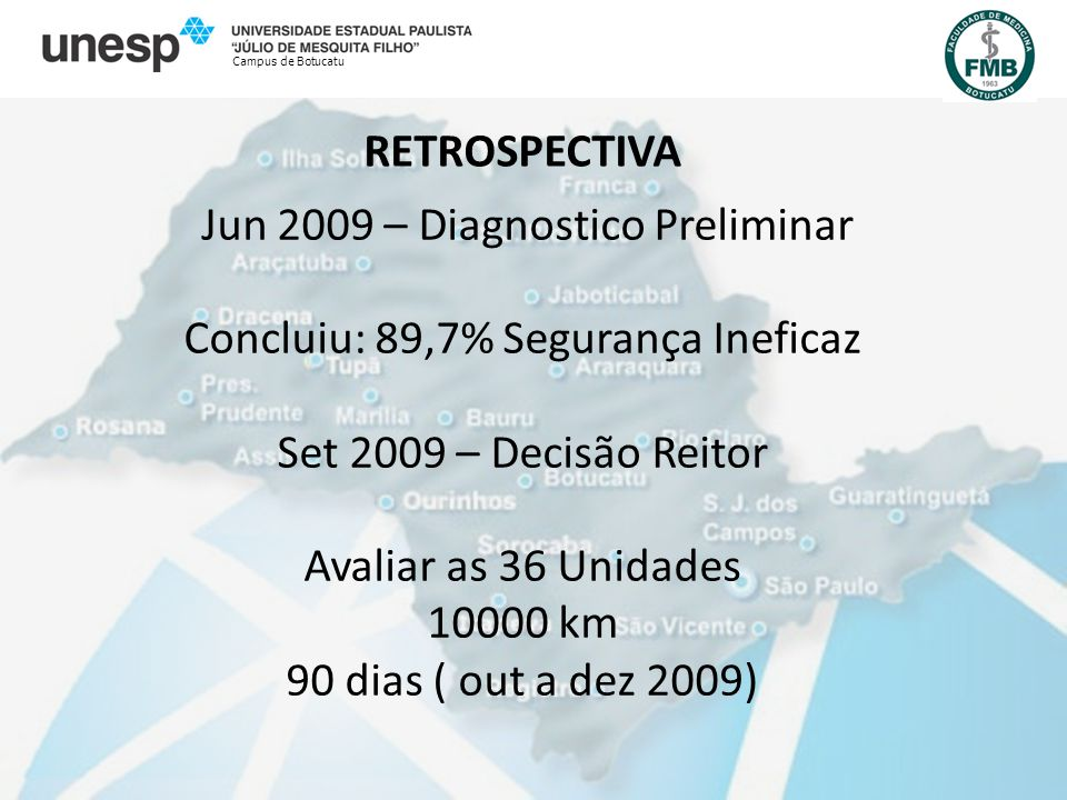 RETROSPECTIVA Campus de Botucatu Jun 2009 – Diagnostico Preliminar Concluiu: 89,7% Segurança Ineficaz Set 2009 – Decisão Reitor Avaliar as 36 Unidades 10000 km 90 dias ( out a dez 2009)
