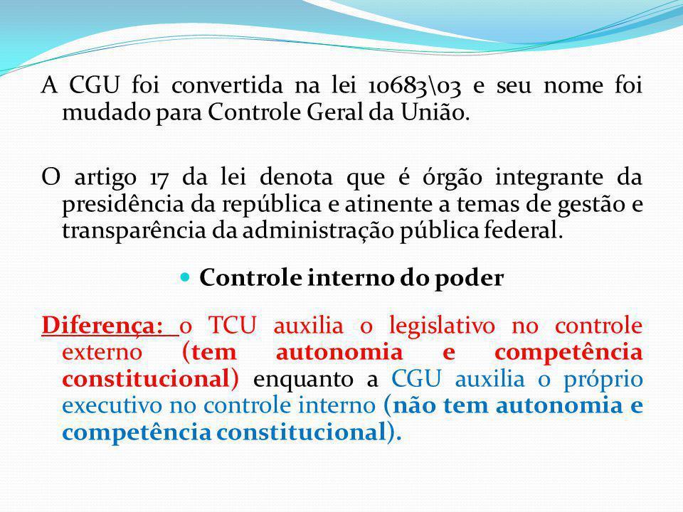 A CGU foi convertida na lei 10683\03 e seu nome foi mudado para Controle Geral da União. O artigo 17 da lei denota que é órgão integrante da presidênc