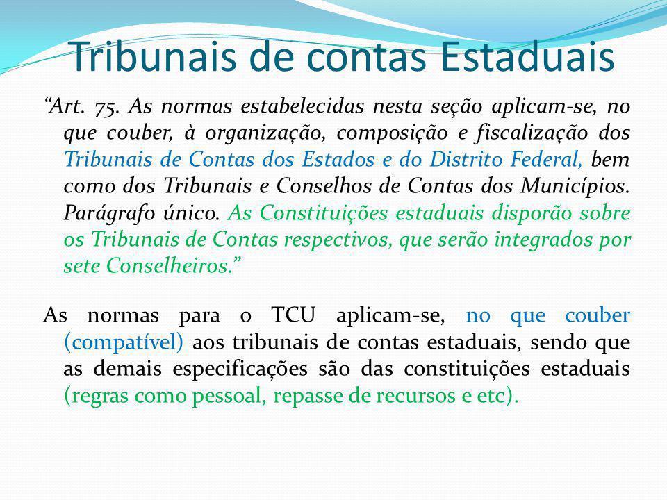 Tribunais de contas Estaduais Art. 75. As normas estabelecidas nesta seção aplicam-se, no que couber, à organização, composição e fiscalização dos Tri
