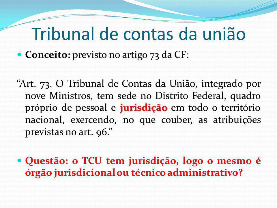 Tribunal de contas da união Conceito: previsto no artigo 73 da CF: jurisdição Art. 73. O Tribunal de Contas da União, integrado por nove Ministros, te