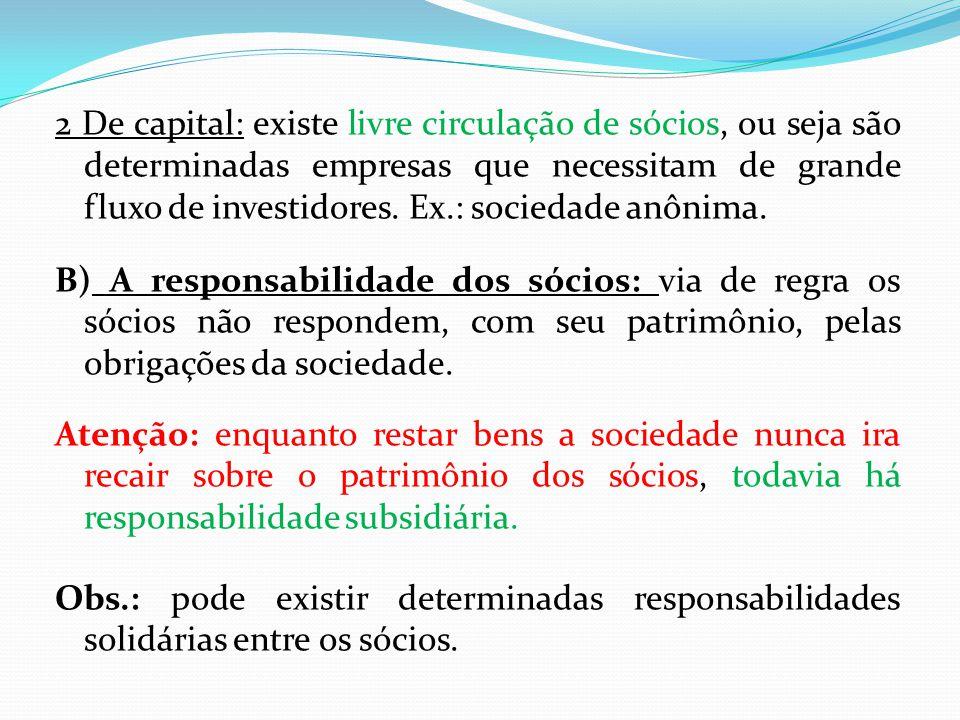 2 De capital: existe livre circulação de sócios, ou seja são determinadas empresas que necessitam de grande fluxo de investidores.