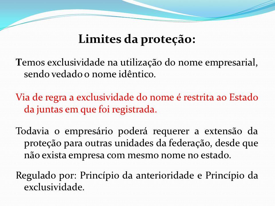 Limites da proteção: Temos exclusividade na utilização do nome empresarial, sendo vedado o nome idêntico.