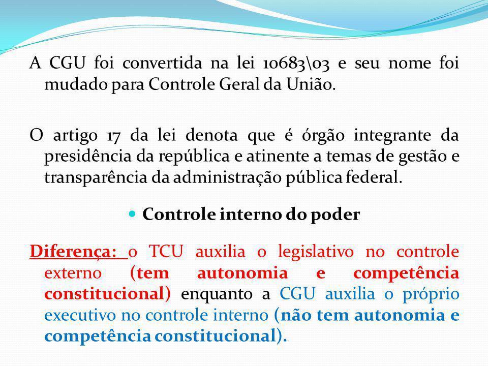 A CGU foi convertida na lei 10683\03 e seu nome foi mudado para Controle Geral da União.
