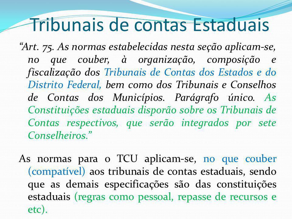 Tribunais de contas Estaduais Art.75.