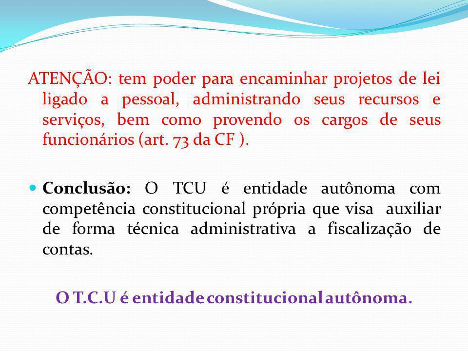 ATENÇÃO: tem poder para encaminhar projetos de lei ligado a pessoal, administrando seus recursos e serviços, bem como provendo os cargos de seus funcionários (art.