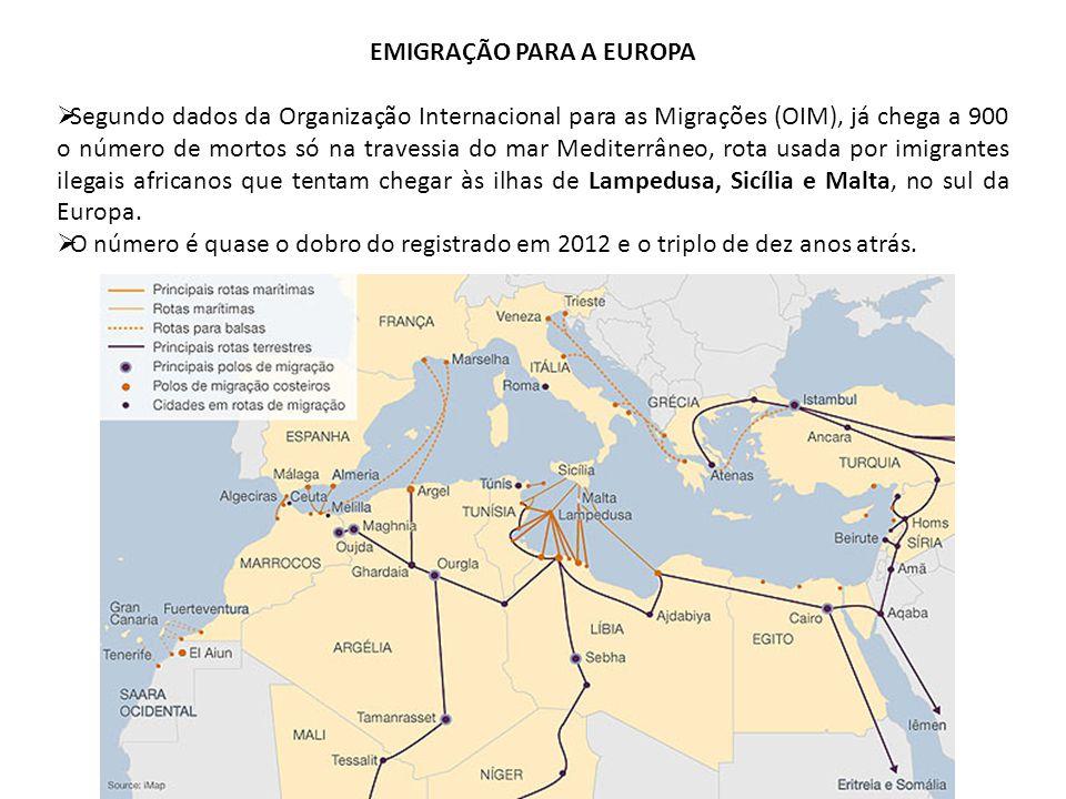 EMIGRAÇÃO PARA A EUROPA Segundo dados da Organização Internacional para as Migrações (OIM), já chega a 900 o número de mortos só na travessia do mar M
