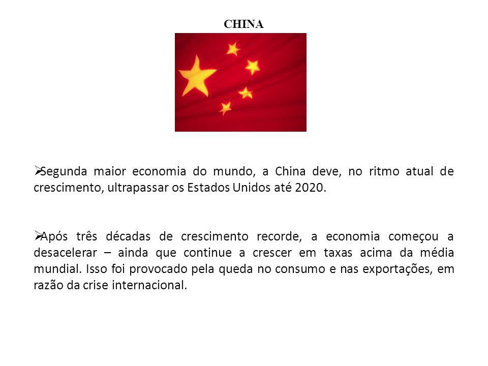 CHINA Segunda maior economia do mundo, a China deve, no ritmo atual de crescimento, ultrapassar os Estados Unidos até 2020. Após três décadas de cresc
