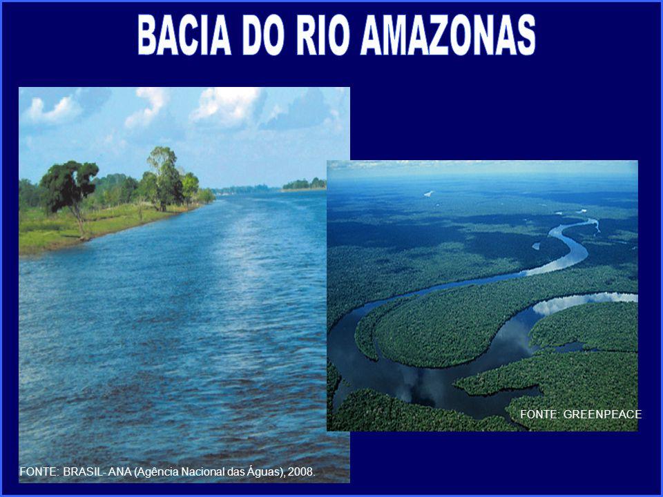 FONTE: BRASIL- ANA (Agência Nacional das Águas), 2008. FONTE: GREENPEACE