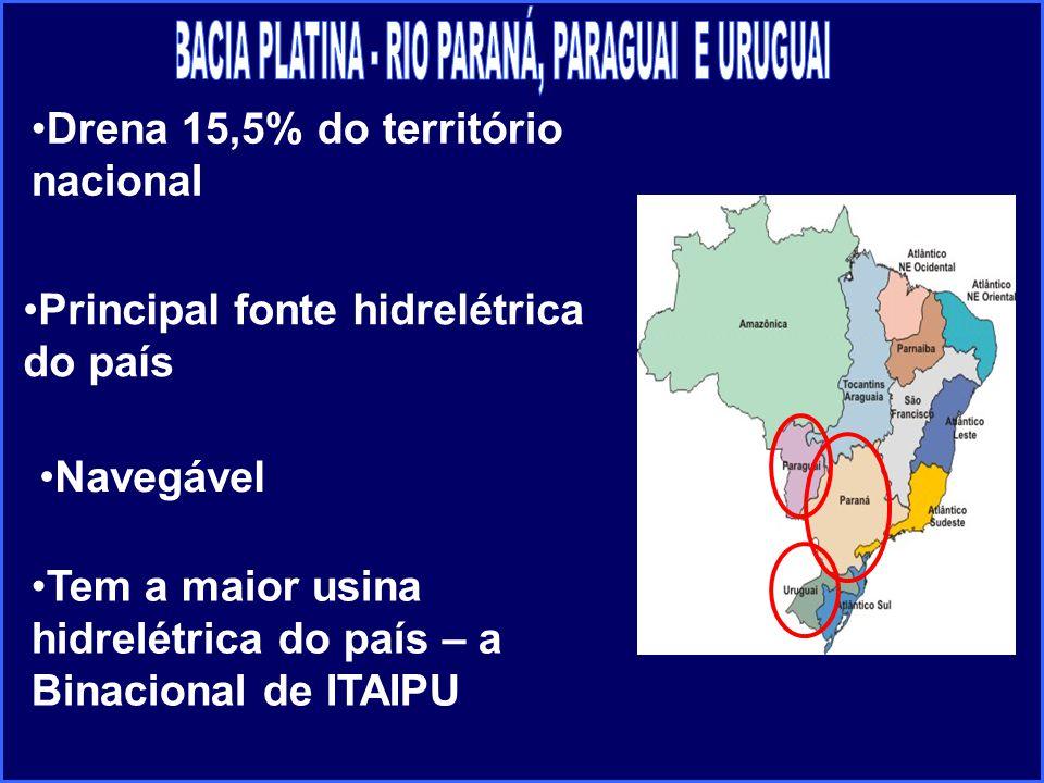 Navegável Drena 15,5% do território nacional Principal fonte hidrelétrica do país Tem a maior usina hidrelétrica do país – a Binacional de ITAIPU