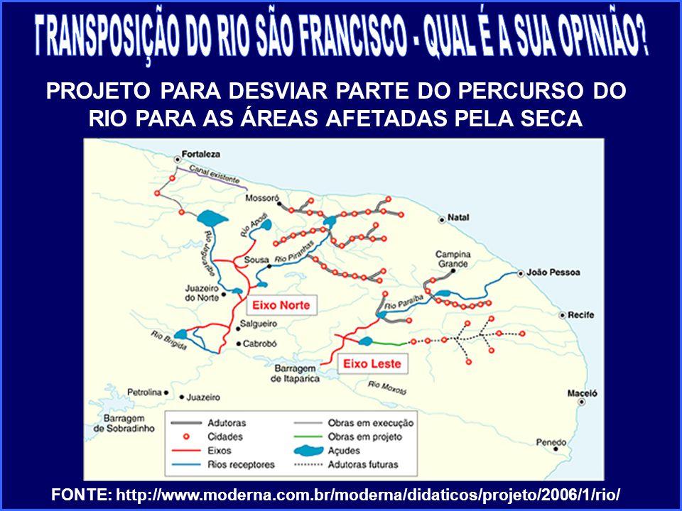 PROJETO PARA DESVIAR PARTE DO PERCURSO DO RIO PARA AS ÁREAS AFETADAS PELA SECA FONTE: http://www.moderna.com.br/moderna/didaticos/projeto/2006/1/rio/
