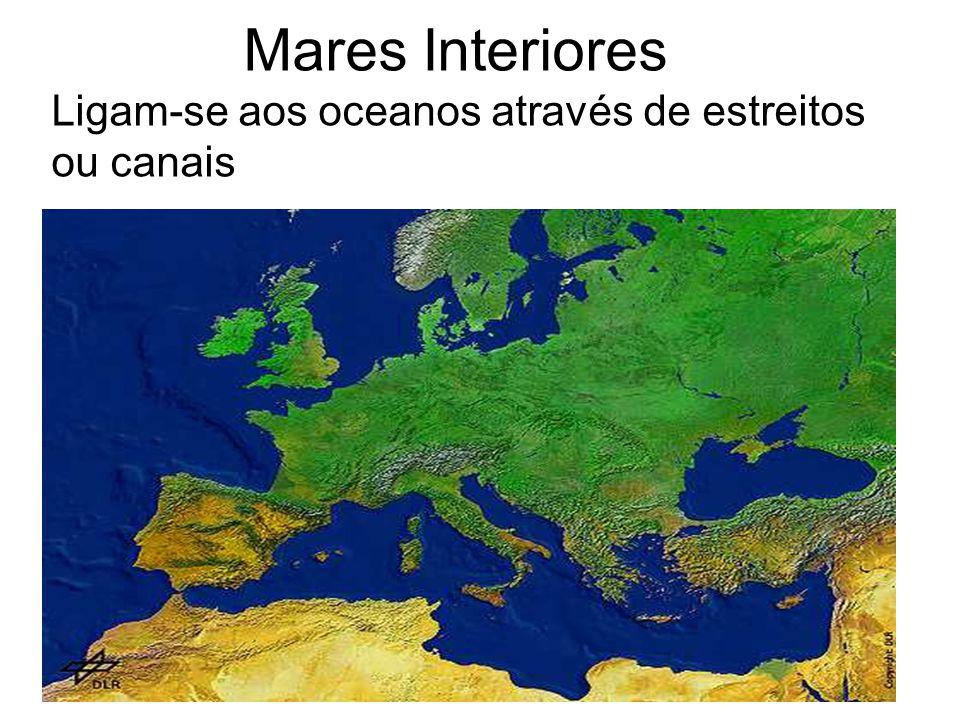 Mares Interiores Ligam-se aos oceanos através de estreitos ou canais