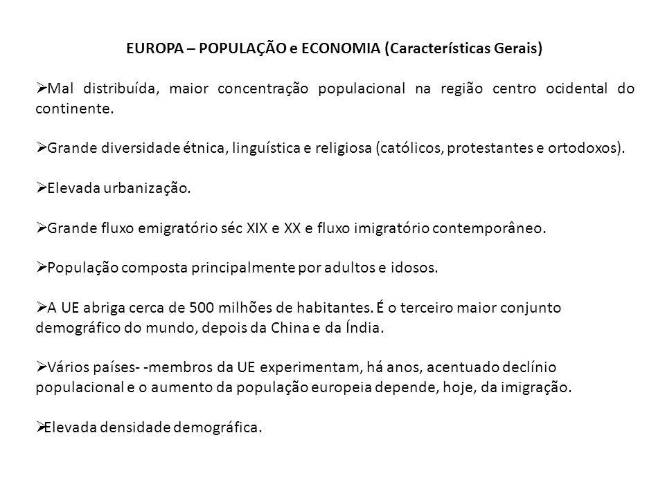 EUROPA – POPULAÇÃO e ECONOMIA (Características Gerais) Mal distribuída, maior concentração populacional na região centro ocidental do continente. Gran