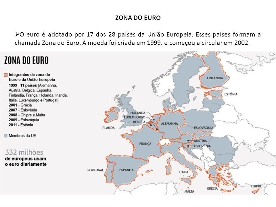 ZONA DO EURO O euro é adotado por 17 dos 28 países da União Europeia. Esses países formam a chamada Zona do Euro. A moeda foi criada em 1999, e começo