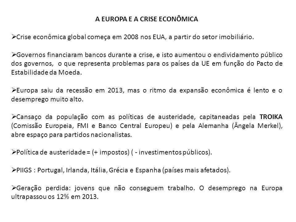 A EUROPA E A CRISE ECONÔMICA Crise econômica global começa em 2008 nos EUA, a partir do setor imobiliário. Governos financiaram bancos durante a crise