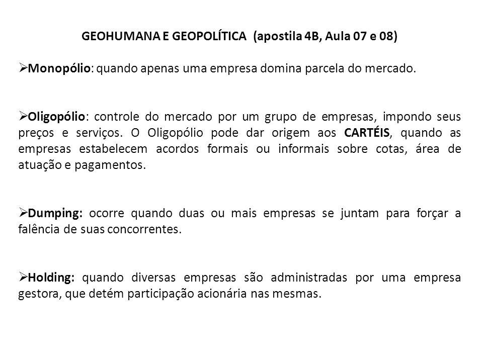 GEOHUMANA E GEOPOLÍTICA (apostila 4B, Aula 07 e 08) Monopólio: quando apenas uma empresa domina parcela do mercado. Oligopólio: controle do mercado po