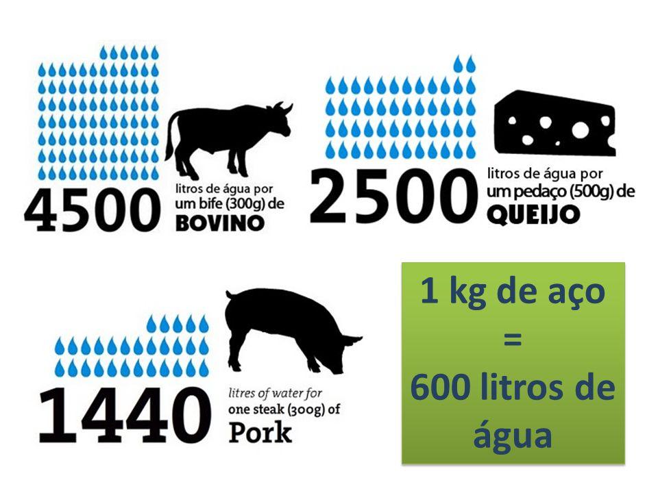 1 kg de aço = 600 litros de água 1 kg de aço = 600 litros de água