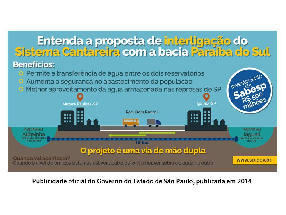Publicidade oficial do Governo do Estado de São Paulo, publicada em 2014