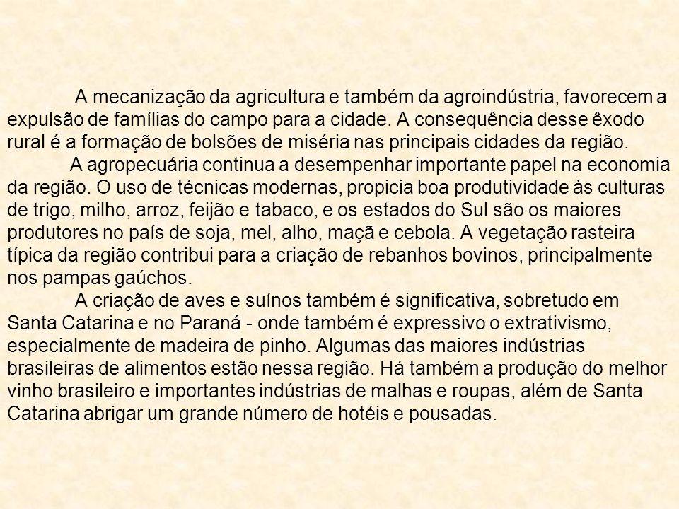 A mecanização da agricultura e também da agroindústria, favorecem a expulsão de famílias do campo para a cidade. A consequência desse êxodo rural é a