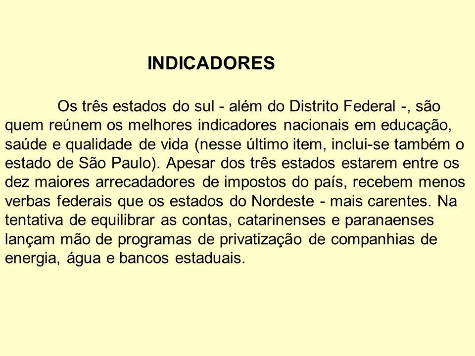 INDICADORES Os três estados do sul - além do Distrito Federal -, são quem reúnem os melhores indicadores nacionais em educação, saúde e qualidade de v