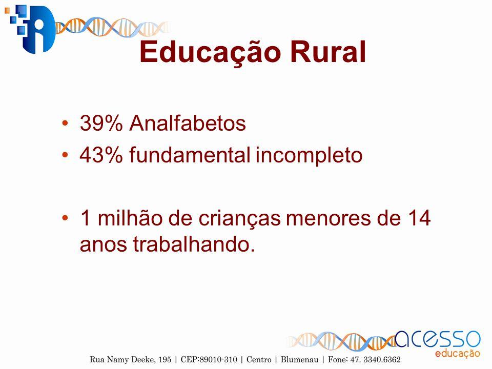 Educação Rural 39% Analfabetos 43% fundamental incompleto 1 milhão de crianças menores de 14 anos trabalhando.