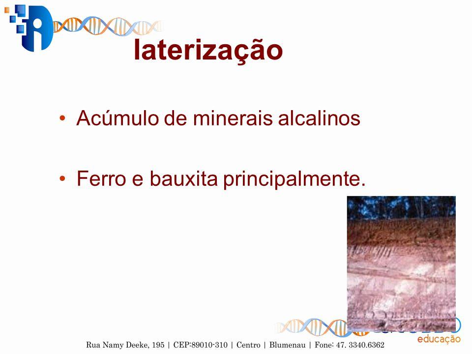 laterização Acúmulo de minerais alcalinos Ferro e bauxita principalmente.