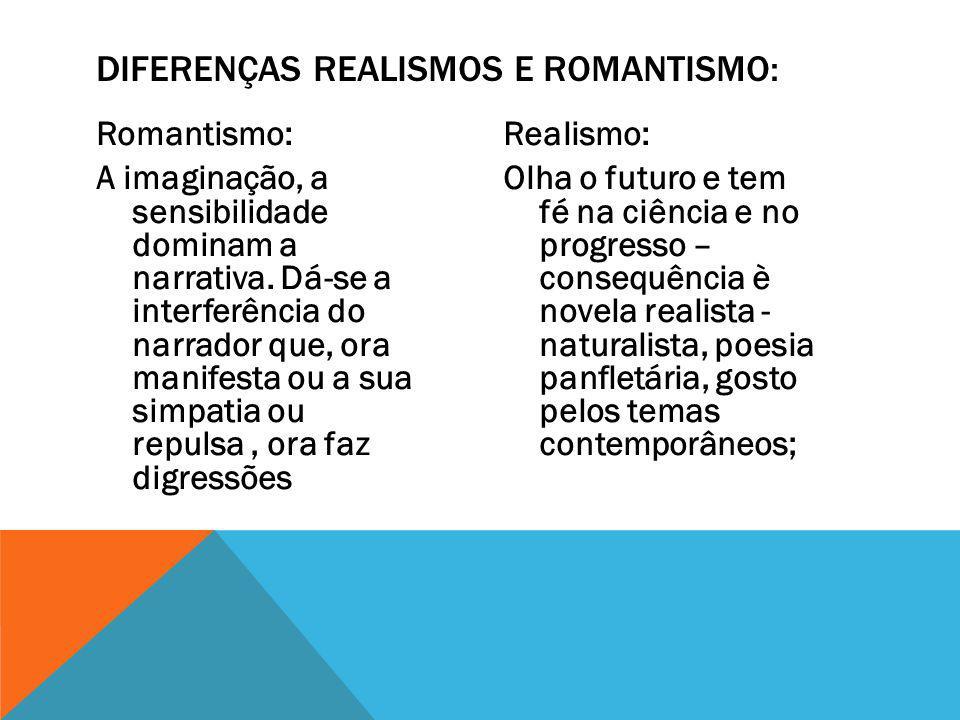 Romantismo: A imaginação, a sensibilidade dominam a narrativa.