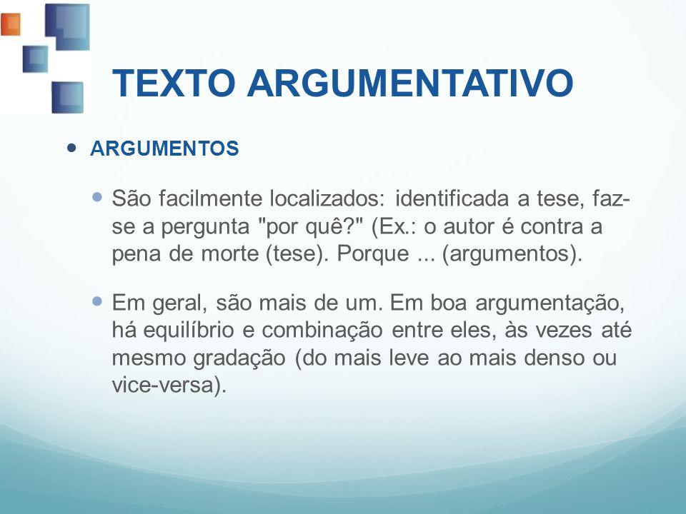 TEXTO ARGUMENTATIVO ARGUMENTOS São facilmente localizados: identificada a tese, faz- se a pergunta