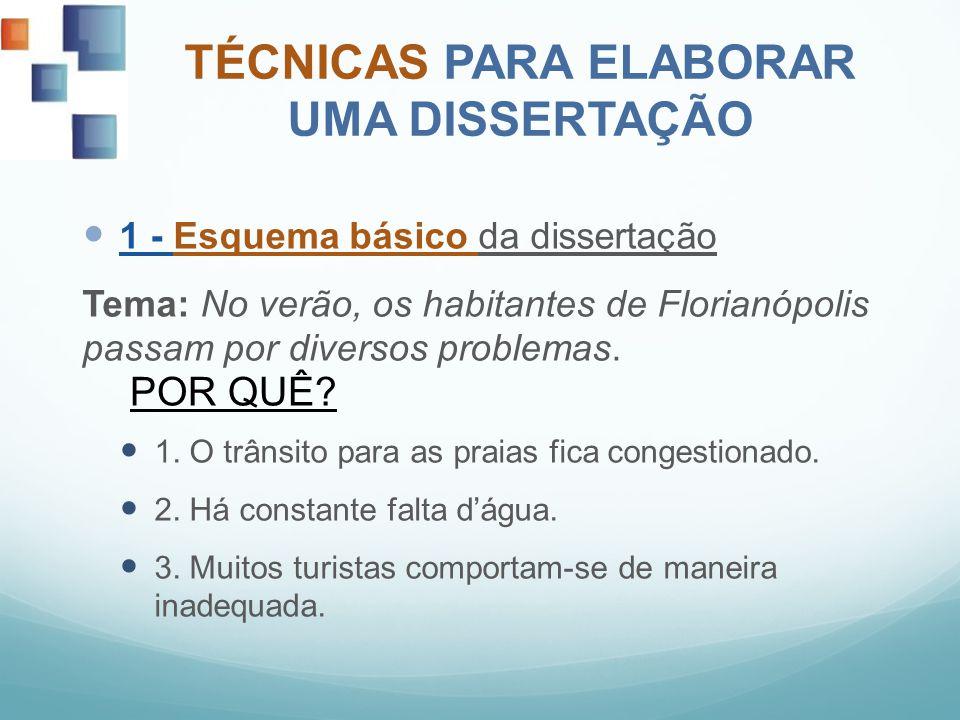 TÉCNICAS PARA ELABORAR UMA DISSERTAÇÃO 1 - Esquema básico da dissertação Tema: No verão, os habitantes de Florianópolis passam por diversos problemas.