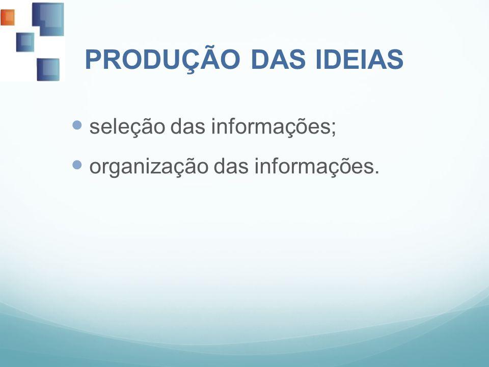 PRODUÇÃO DAS IDEIAS seleção das informações; organização das informações.